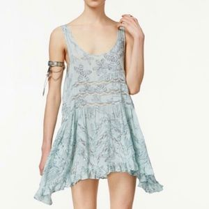 Free People Voile & Trapeze Dress  in Mint Pattern
